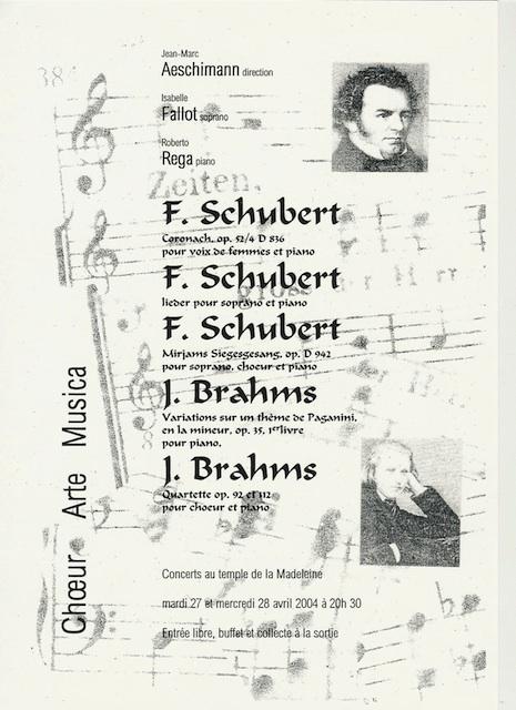 Affiche du Concert Arte Musica 2004 - Schubert, Brahms