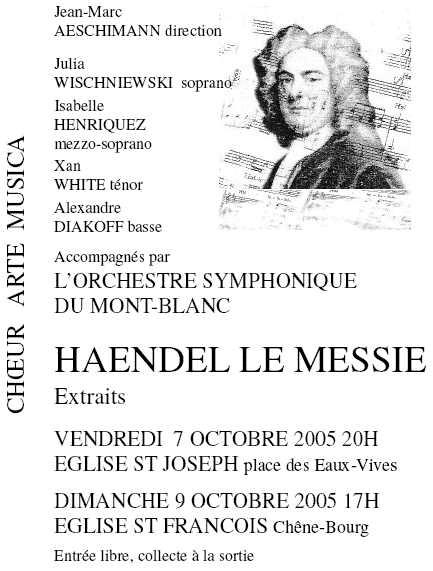 Affiche du Concert Arte Musica 2005 - Haendel
