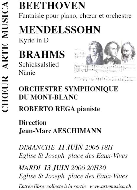 Affiche du Concert Arte Musica 2006 - Beethoven, Mendelssohn, Brahms